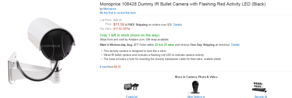 Amazon.com - Monoprice 108428 Dummy IR Bullet Camera with Flashing Red Activity LED (Black) - Wired Dummy Camera - Camera & Photo