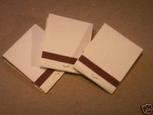 These plain white matchbooks are the type that you want.