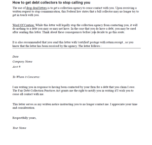 use this drop dead letter we created to tell collectors to stop contacting you!